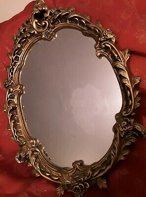 Stunning Vintage Rococo Style Mirror, Plaster And Gold Gilt Frame.