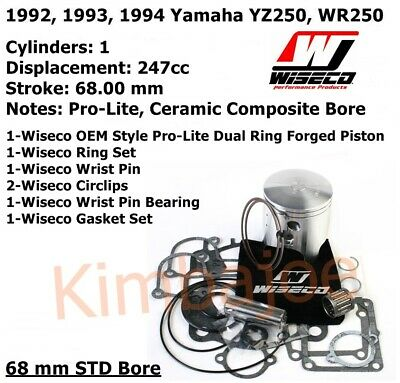 for Yamaha WR250 1992-1997 68 mm Wiseco Piston Kit Pro-Lite Standard