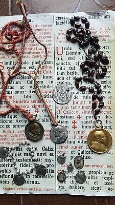 RARE ANCIENT HEAVY LOT CROSSES : crucifix pendant + MEDALS + other religious !!!