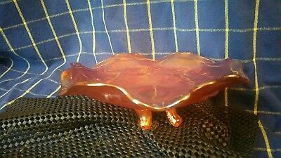Antique Sowerby Carnival Pressed Glass Marigold ThistleThorn Pattern Footed Bowl