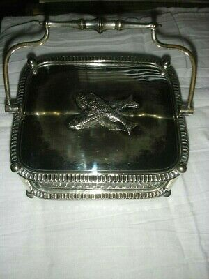 Superb Antique Victorian Silver Plated Figural Top Sardine / Caviar Dish 1880'S