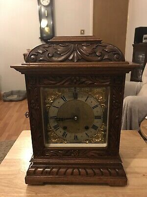 stunning Walnut  Cased carved Ting Tang Mantle Clock By RSM