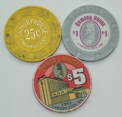 Set of 3 Ormsby House 25¢-$1-$5 Casino Chips Carson City Nevada ChipCo./Paul-son