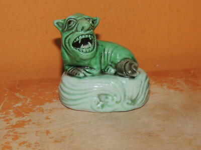"Chinese Mud Beast 2"" marked China lion foo Mudman Antique c1910 green waves RARE"