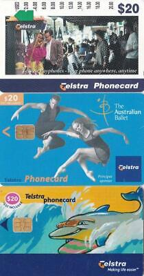 3 x $20 TELSTRA PHONE CARDS  PayPhone Australian Ballet Surfing Dolphin Exclnt