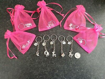 Baby Shower Gender Reveal Thank You Keyrings /& Bags Party Prizes Favors Or...