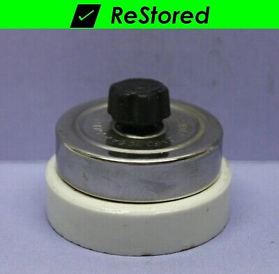 💡 Vintage Rotary Light Switch - Chrome/Porcelain Round Single-Pole - National