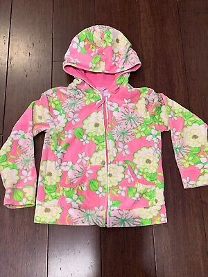 LILLY PULITZER Girls Velour Zip Up HOODIE, Size 8, Cabana Cocktail Pink Flowers
