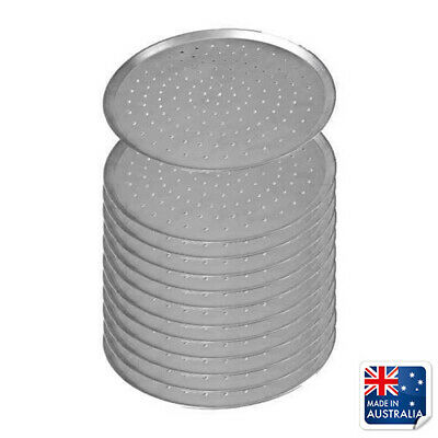 "12x Pizza Pan / Tray 300mm 12"", Aluminium Perforated Plate, Round Oven Tray"