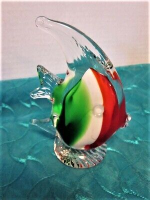 """4"""" Angel Fish Figurine Hand Blown Art Glass Clear with Multi-Colors Paperweight"""