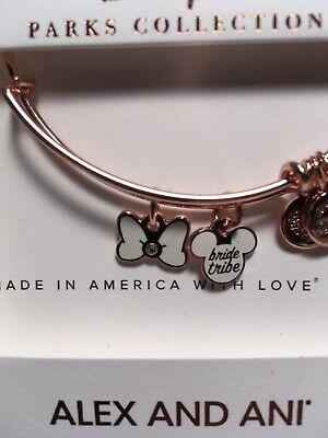 Disney Alex And Ani Mickey Minnie Mouse Bride Tribe White Bow Rose Gold Bracelet