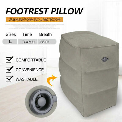 Inflatable Foot Rest Cushion Travel Air Pillow Office Home Leg Footrest Relax D
