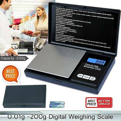 MINI 200g 0.01 DIGITAL POCKET SCALES JEWELLERY PRECISION ELECTRONIC WEIGHT D