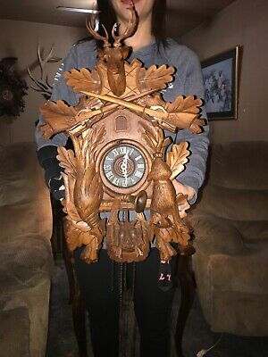 Beautiful Vintage German Black Forest Carved 8 Day Cuckoo Clock