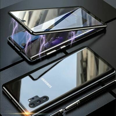Samsung S10 Note 10 + Plus S8 S9 Phone Case Magnetic Double Tempered Glass Cover