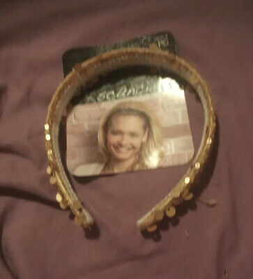 SCUNCI Head Band Lined GOLD Sequins 39234-B Conair Division New And Carded