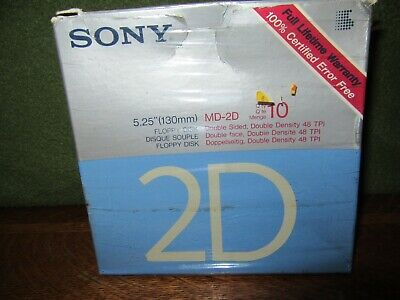 """New Sony MD-2D 5.25"""" Floppy Disks-10+2 Extra (12 Disks Total) New Opened Box"""