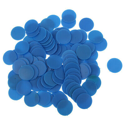 100Pcs Opaque Plastic Board Game Counters Chips for Kids Math Teaching Blue