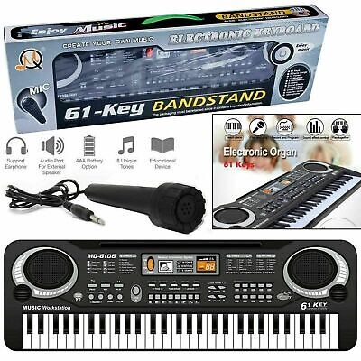 61 Key Electronic Keyboard Digital Piano MP3 Music Instrument Microphone UK Plug