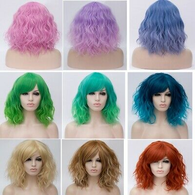 22 Colour Party Ombre Heat Resistant Curly Short Anime Women  Lolita Cosplay Wig