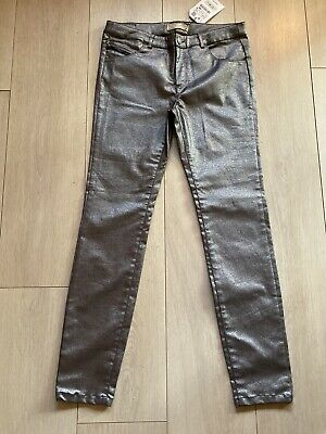 Pewter Silver Coated Trousers New Zara Girls 13-14 Yrs Party Summer Celeb Xmas