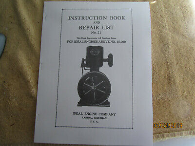 Ideal type M Gas Engine Instruction & Parts Manual  Serial # 15000 and higher