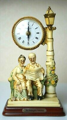 """Vintage Alabaster Clock """"Old Couple"""" The Wellington Collection 1995 Collectible"""