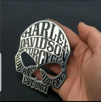 harley davidson motorcycle fuel tank sissy bar chrome skull badge emblem logo