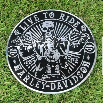 harley davidson motorcycle fuel tank sissy bar skull bone badge emblem logo