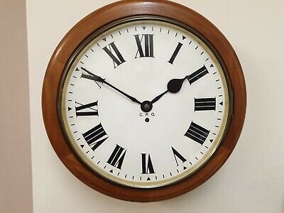 Rare 14 inch Fusee 8 Day Dial/Station/School Clock G.P.O. C1900  Roman Numerals