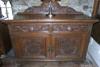 Antique Victorian heavily carved solid oak 5ft SIDEBOARD 2 drawers 2 cupboards