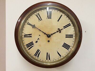 Unsigned 12 inch Fusee 8 Day Dial/Station/School Roman Numerals C1880 Mahogany