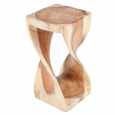 Small Twist Table/Hand Carved Solid Wood/Lamp Table/Plant Stand/Natural Finish
