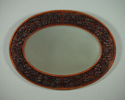 Antique Oval Carved Oak Wall Mirror c.1910.