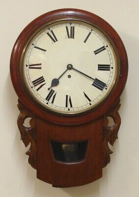 Mid C19th 12 inch Unsigned Fusee 8 Day Drop Dial/Station/School  Mahogany Case
