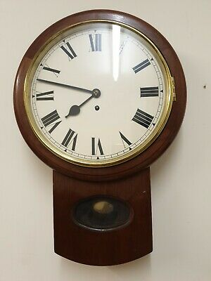 12 inch Unsigned Fusee 8 Day Drop Dial/Station/School  Mahogany Case C1880