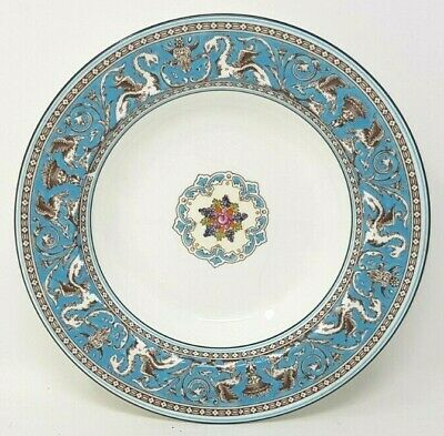 Wedgwood Turquoise Florentine W2714 8 Inch Rimmed Soup Bowl Light Crazing