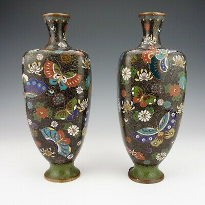 Antique Japanese Cloisonne - Pair Of Oriental Butterfly & Flower Decorated Vases