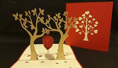 ENGAGE, Anniversary, Wedding, all Occ 3D Pop Up Lovely Owls with Red Tree Heart.