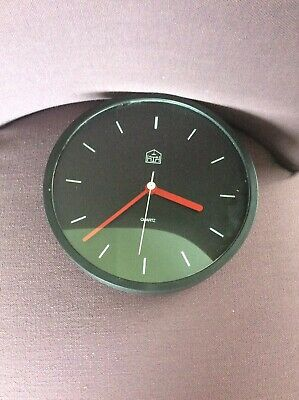Black Wall Clock - With White Dials And Red Hands - Quartz