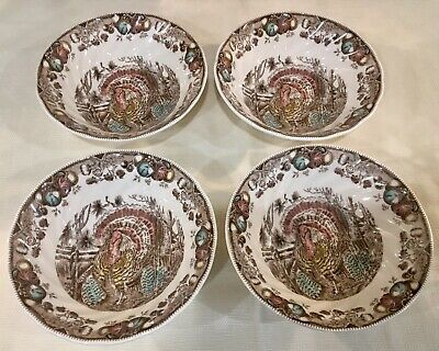 """Johnson Brothers HIS MAJESTY Thanksgiving Turkey Cereal/Berry Bowls 6"""" Set NEW"""