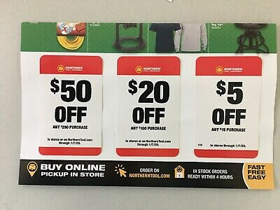 Northern Tool Coupons $50 $20 $5 ($75 Totals Savings) Exp. 01/07/20