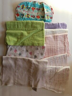 Lot of 9 Infant Baby Burp Rags Cloths Some handmade Cloth Diaper