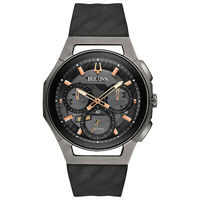 Bulova Quartz Men's Curv Chronograph Titanium Black 44mm Watch 98A162