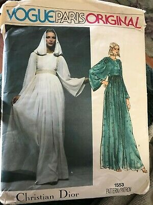 1970's VTG VOGUE Paris Orig. Misses' Dress Christian Dior Pattern 1553 Size 12