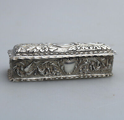 Antique Solid Silver a pretty Box with birds, flora, scrolls etc... Birm 1898