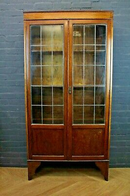 Antique Oak Glazed Two Door Bookcase Cupboard Cabinet ~ 2nd Quarter 20th Century