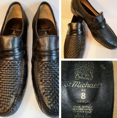M&S Vintage 1980s St Michael Mens Black Leather Penny Loafers Shoes UK Size 8