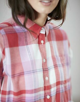 Joules Womens Lorena Relaxed Button Through Shirt in RED CHECK Size 6