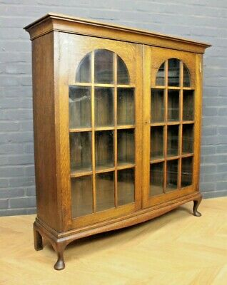 Antique Edwardian Edward VII Oak Glazed Two Door Bookcase Cupboard Cabinet